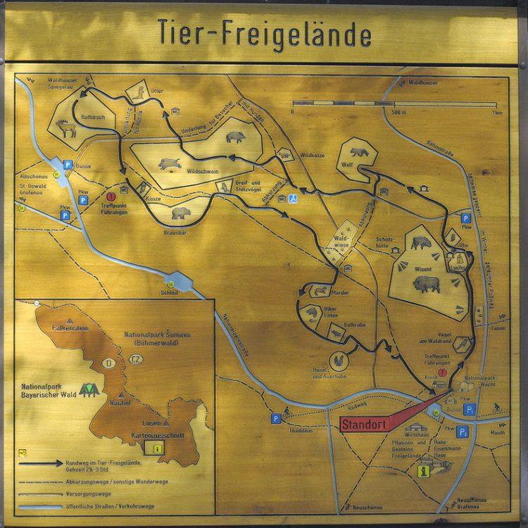 cartina del parco bayerischer wald in baviera