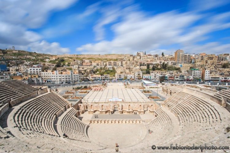 amman skyline in jordan with the roman theater