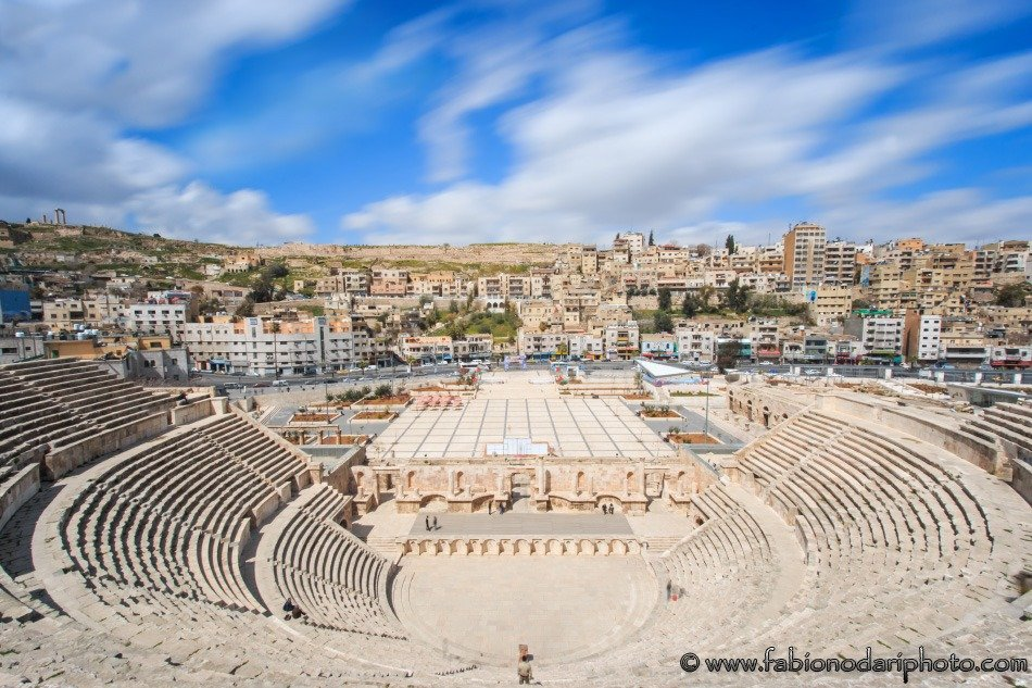 amman skyline in jordan with the roman theather