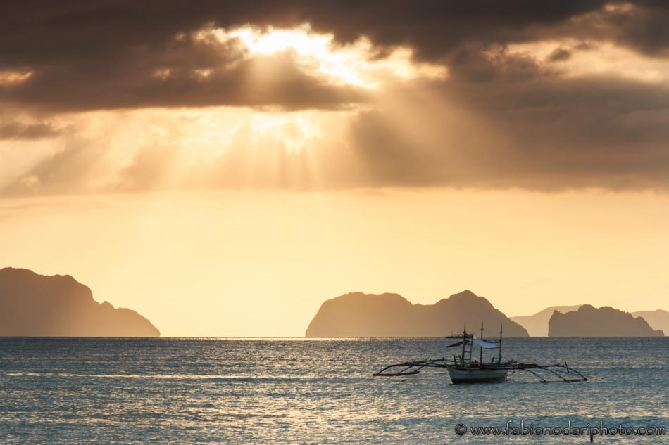 Sunset at Corong Corong beach, Palawan, Philippines