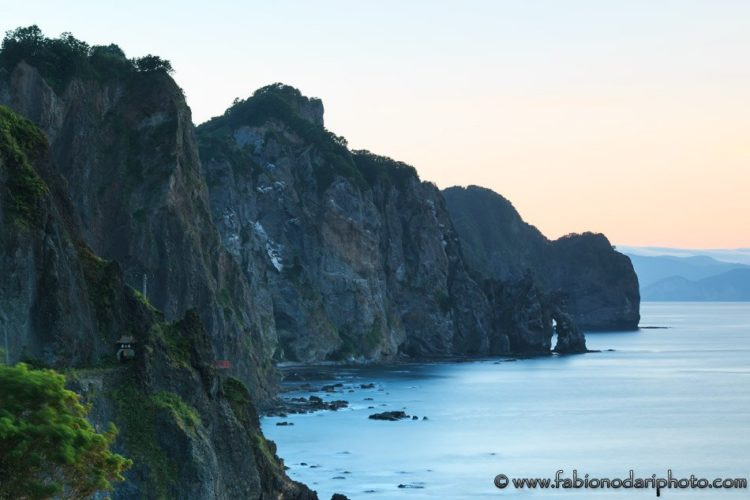 sunset in otaru in hokkaido japan