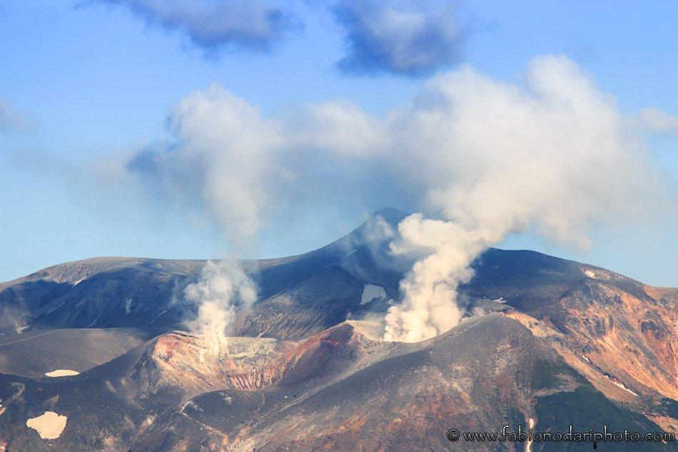volcano smoking in furano hokkaido in japan