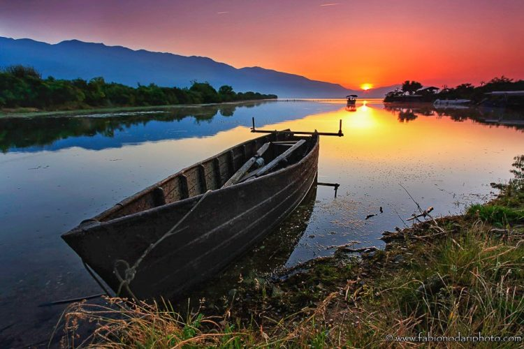 sunset over lake kerkini in northern greece