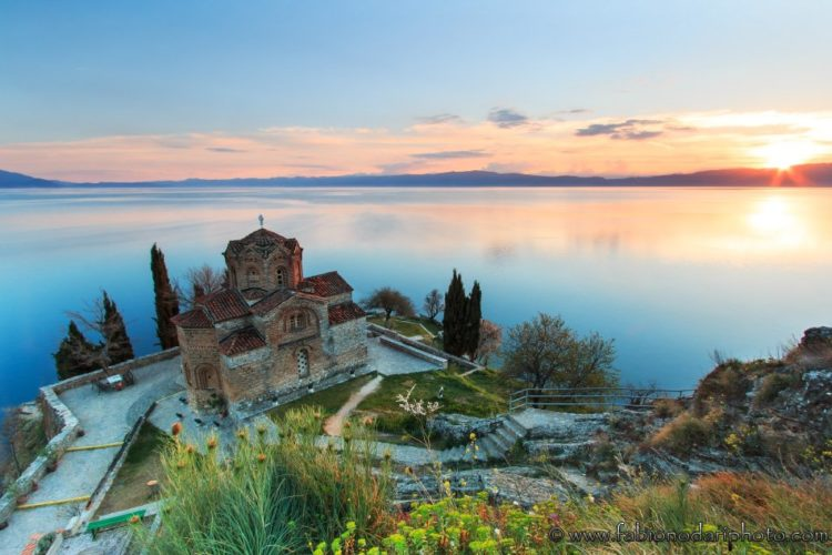 sunset over lake ohrid in macedonia fyrom