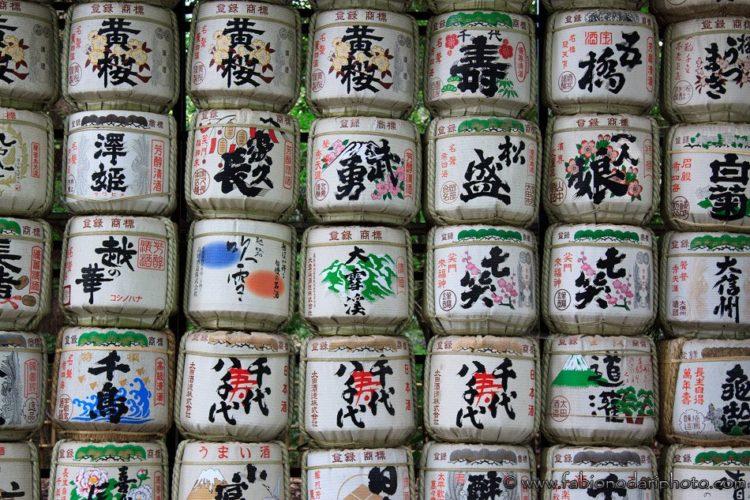 sakè barrels in tokyo japan