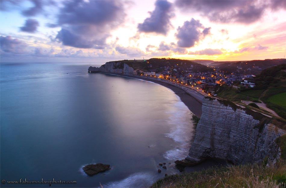 sunrise over etretat in normandy france