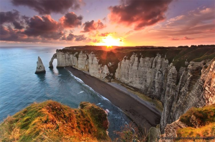 sunrise over etretat in normandy france