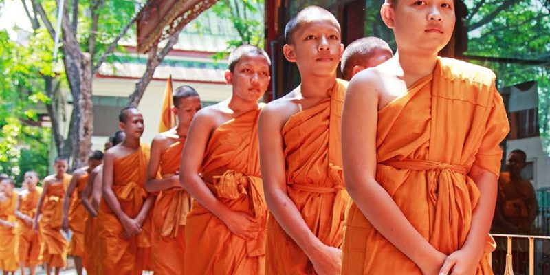 bhuddists monks in bangkok in thailand
