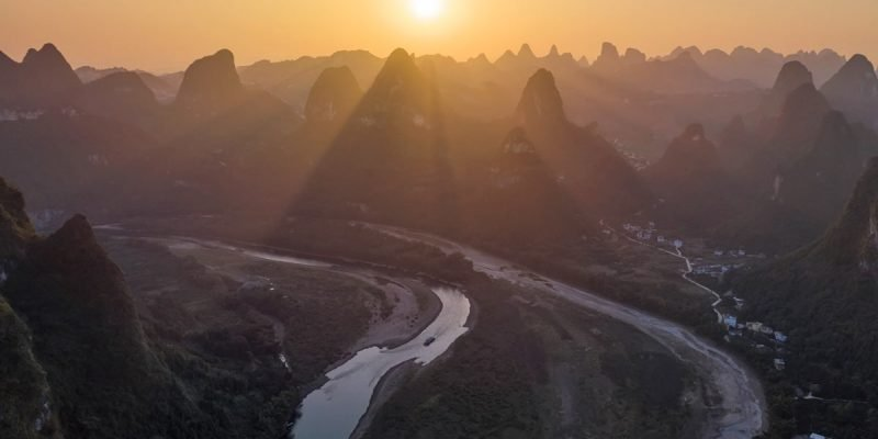 sunset in xingping with drone