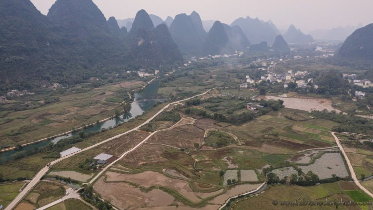 sunrise in yangshuo with drone