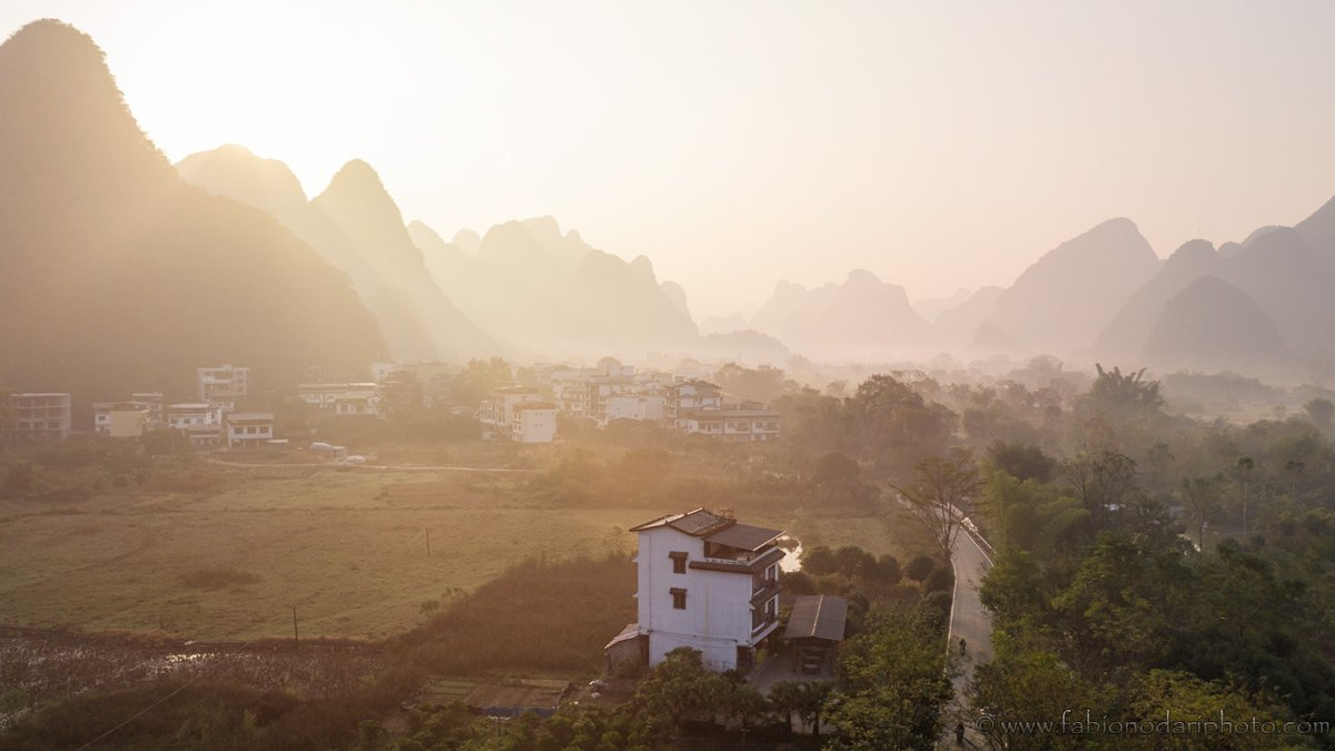 sunrise in yangshuo