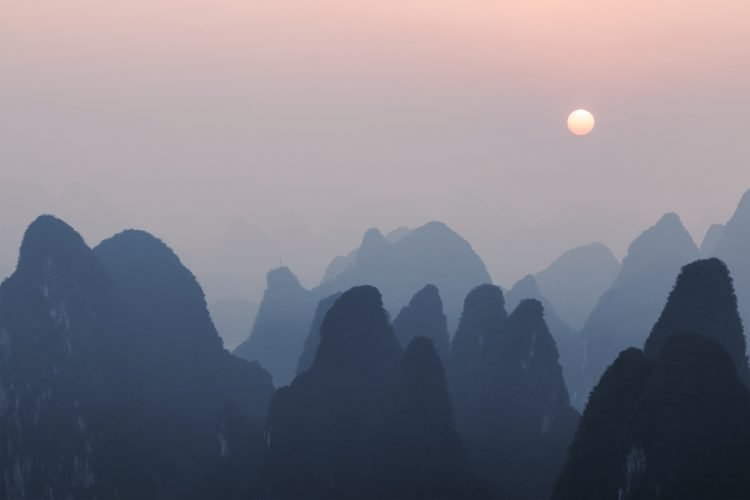 sunrise in xingping yangshuo