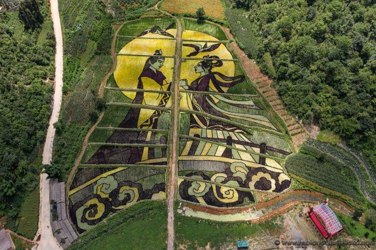Aerial view of Maidichong in Yiliang, Yunnan - China