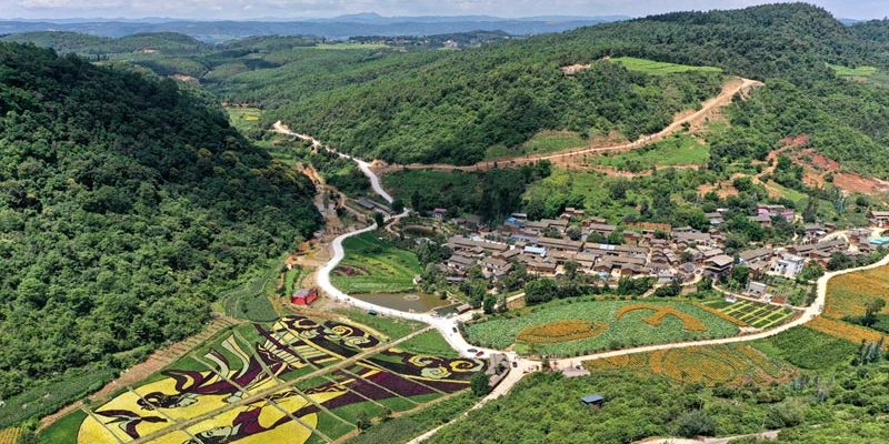 Aerial view of Maidichong in Yiliang, Yunnan - China